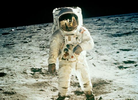 Buzz Aldrin walking on the surface of the moon, July 20th, 1969