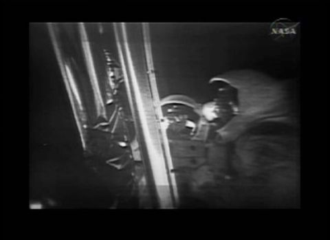 A still from the new digitally remastered moon footage video